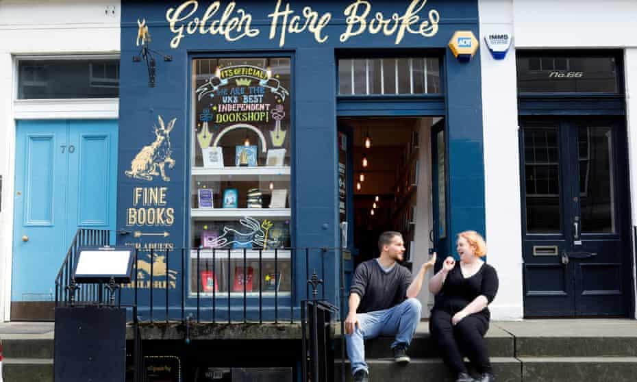 David Bloomfield and Julie Danskin outside their shop, Golden Hare Books, in Edinburgh