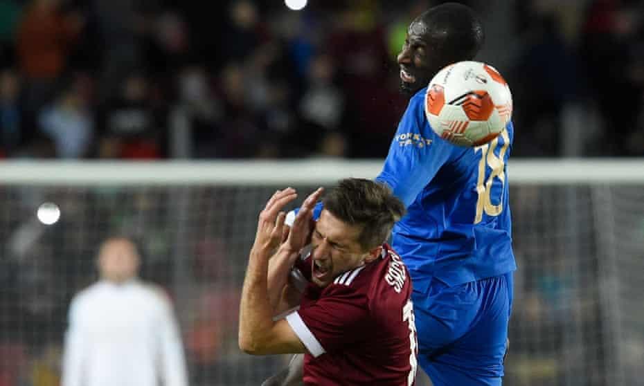 Rangers' Glen Kamara is penalised for an aerial challenge on Sparta Prague's Czech midfielder Michal Sacek.