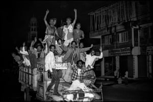 People rejoicing after the fall of Ershad, Mirpur Road, Dhaka, Bangladesh, 1990