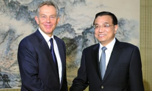 Tony Blair meets China's then vice-premier, now premier, Li Keqiang in Beijing in 2011.