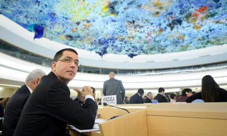 Venezuelan Foreign Minister Jorge Arreaza Montserrat during the opening of the 36th session of the Human Rights Council, at the European headquarters of the United Nations in Geneva on 11 September.