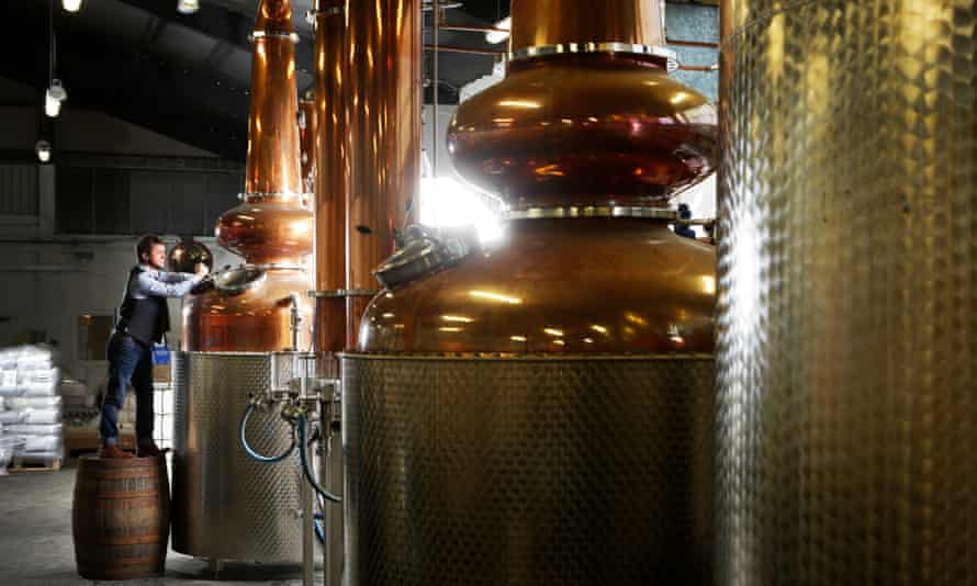 Copper stills at the Glasgow Distillery