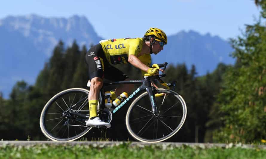 The Tour de France leader Primoz Roglic (Team Jumbo-Visma) speeds down a descent on stage 18.