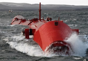 The new wave-power machine, the Vagr Atferd, built by Leith-based Pelamis for energy firm E.ON, in a photograph first presented in 2010.