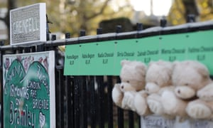 Teddy bears and signs attached to a fence near Grenfell Tower in London