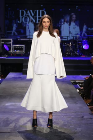A model showcases designs by Ellery during rehearsal ahead of the David Jones Spring/Summer 2015 Fashion Launch.
