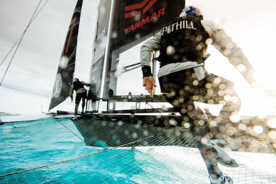 Jimmy Spithill on board Oracle Team USA.