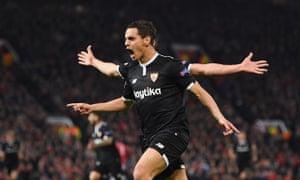 Wissam Ben Yedder celebrates scoring Sevilla's first goal against Manchester United at Old Trafford.