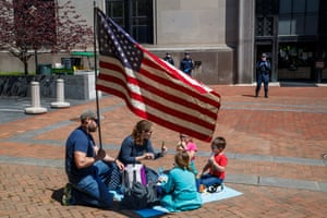 Richmond, US Protesters upset with the government's stay at home order are denied access to the state capitol grounds in Richmond. Virginia Governor Ralph Northam has announced he is extending business closures until at least 8 May