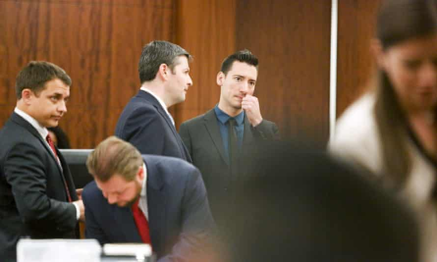 David Daleiden, centre, blue shirt, in court in Texas earlier this month. The judge in San Francisco rejected his claim that the videos shot by the Center for Medical Progress were investigative journalism protected by the first amendment.