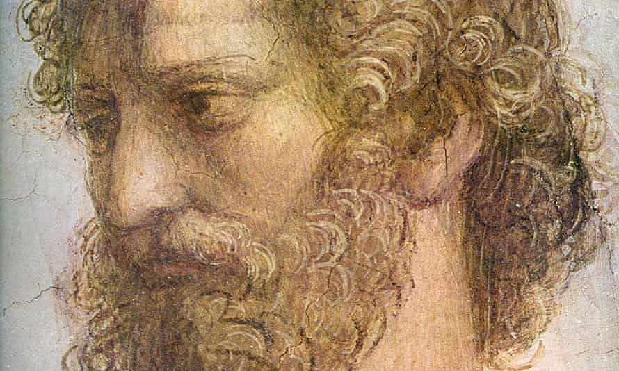 Aristotle … a detail from Raphael's  The School of Athens (1509-1511).