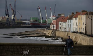 View of Hartlepool docks and terraced housing