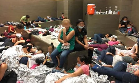 Women held in a border patrol detention centre in Texas