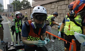 A number of journalists have been injured in Hong Kong protests over the past week.