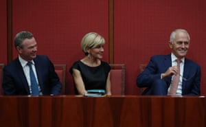 The prime minister, Malcolm Turnbull, the leader of the House, Christopher Pyne, and the foreign affairs minister, Julie Bishop, watch Senator George Brandis give his valedictory speech