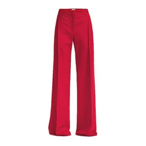 red wide legged trousers