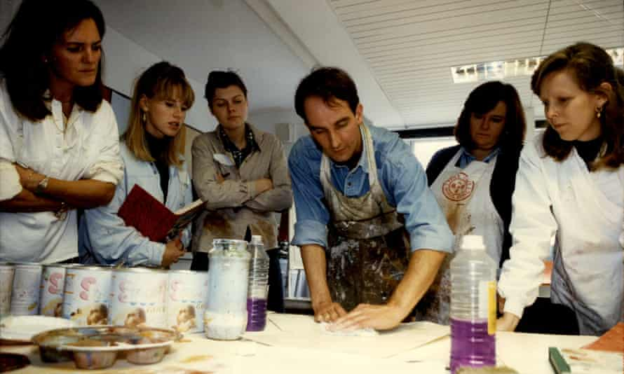 Kevin McCloud in 1992, teaching sophisticated decorative finishes and soft furnishings to pupils at a design school in west London.