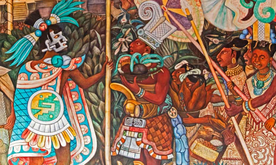 A 1950 fresco of Totonac civilisation by Diego Rivera depicts offerings to the emperor (left) of fruit, tobacco, cocoa and vanilla.