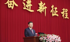 Chinese president Xi Jinping addresses a New Year gathering hosted by the Chinese People's Political Consultative Conference in Beijing.