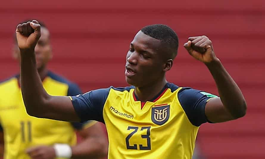 Moisés Caicedo celebrates after scoring for Ecuador against Uruguay during a World Cup qualifier in October.