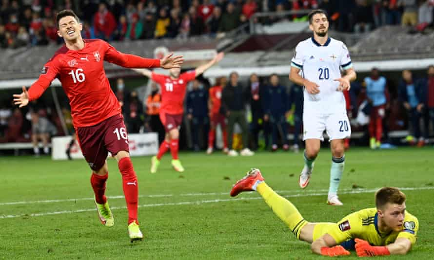 Christian Fassnacht celebrates scoring Switzerland's second goal in stoppage time