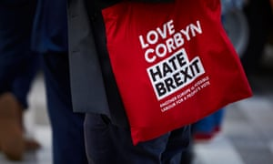 LIVERPOOL, 25 September 2018 - Delegates at the Labour Party's annual conference in Liverpool. Love Corbyn, Hate Brexit tote bag. Christopher Thomond for The Guardian.