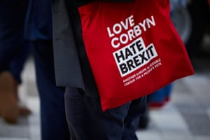 A 'Love Corbyn, Hate Brexit' tote bag.