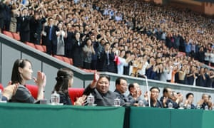 An image released by North Korea's official Korean Central News Agency shows Kim Jong-Un waving at the games.