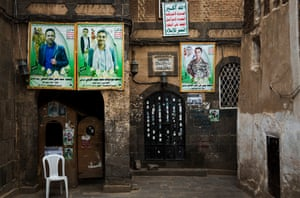 Portraits of Houthi 'martyrs' seen on the walls of a mosque in the old city of Sana'a on 12 September 2019.