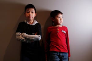 Portrait of two boys who are competing in the scrabble championships