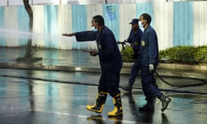 Disinfection works are carried out by officials at streets as part of coronavirus pandemic precautions in Addis Ababa, Ethiopia on 29 March, 2020.