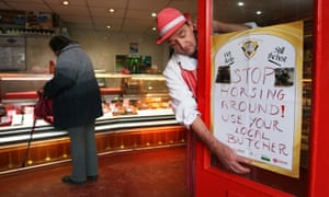 A butcher in Scotland advertises his products shortly after the horsemeat scandal of 2013.