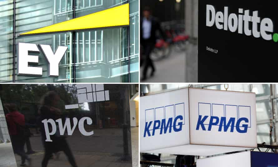 Compilation photo of the big accountancy firm logos - KPMG, EY, Deloitte and PWC