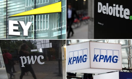 The big four accountancy firms: Ernst & Young, Deloitte, PricewaterhouseCoopers and KPMG