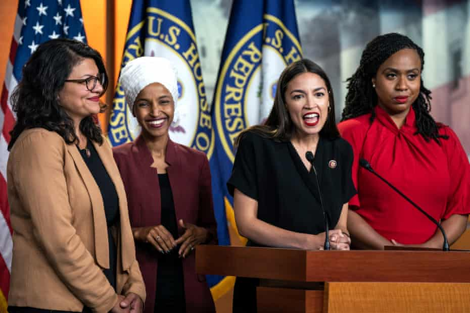 Congresswomen Rashida Tlaib, Ilhan Omar, Alexandria Ocasio-Cortez, and Ayanna Pressley speak last month about Donald Trump's Twitter attacks on them