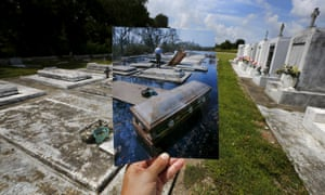 The print shows coffins removed from tombs. In 2005, Hurricane Katrina triggered floods that inundated New Orleans and killed more than 1,500 people as storm waters overwhelmed levees and broke through flood walls