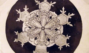 """This undated photo provided by the Carl Hammer Gallery shows one of the snowflakes recorded by Wilson A. Bentley, a Vermont farmer fascinated with snowflakes. Bentley was known as """"The Snowflake Man"""" or """"Snowman Bentley"""" for his pioneering photography of more than 5,000 illusive jewel-like snow crystals - no two alike. (AP Photo/Carl Hammer Gallery, Wilson A. Bentley)"""