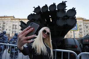 Moscow, RussiaRussian woman takes selfie near military vehicle during the rehearsal for a military parade. Russia will hold a Victory Day military parade on 09 May 2019 to mark the 74th anniversary since the capitulation of Nazi Germany