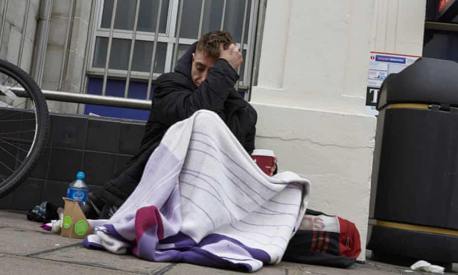 A homeless man on the streets of Brighton.