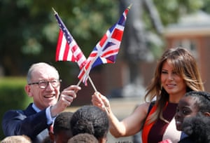 Melania and Philip May wave US and British flags