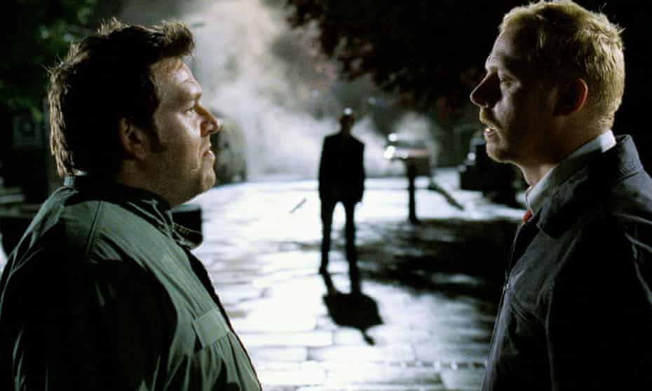 'One of the extras bit me on the knee' … Nick Frost and Simon Pegg in Shaun of the Dead.