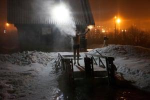 Taking a dip in the frozen Semenovskoye lake