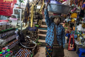 A traditional medicine shop sells elephant parts in Myanmar