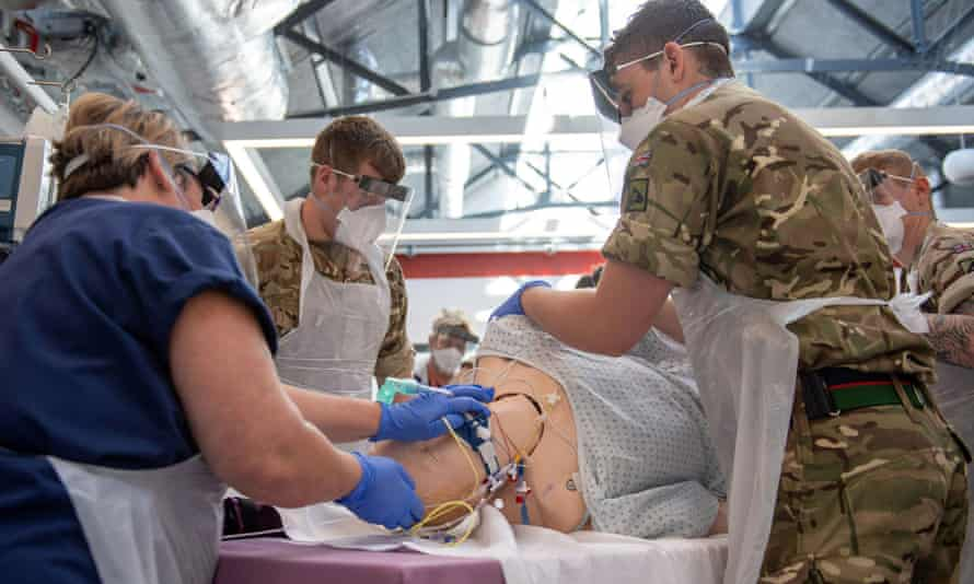 Soldiers from the 1st Battalion The Royal Welsh training in preparation for being Nightingale support workers.