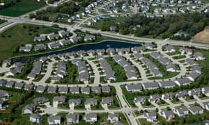 An aerial photograph of a residential development in Des Moines, Iowa. The US military is launching unmanned surveillance balloons over portions of the midwest.