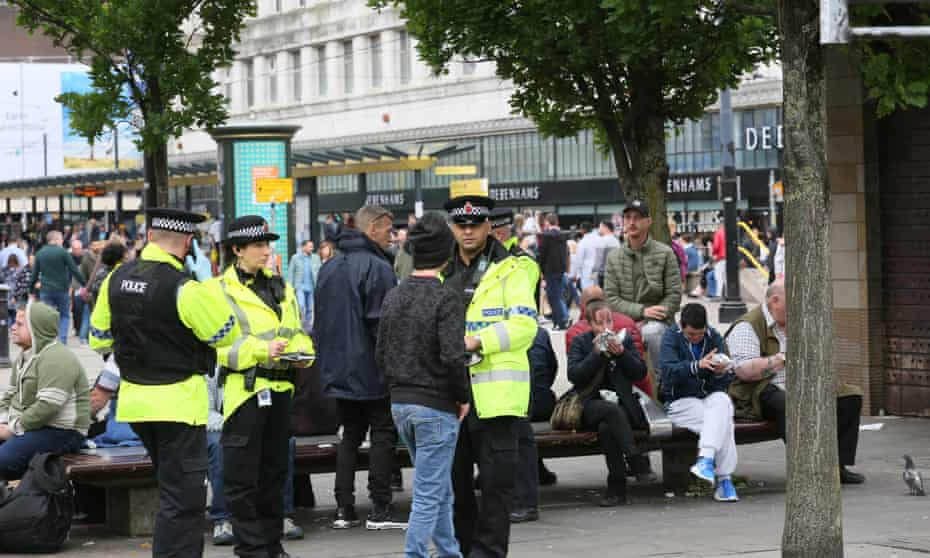 Police officers on patrol in Manchester.