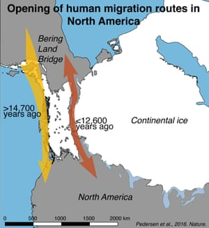 Map outlining the opening of human migration routes in North America as proposed by the new study.