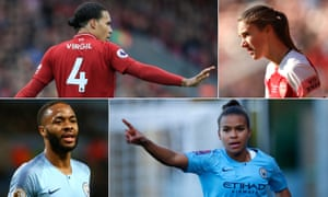 PFA Player of the Year nominees (clockwise from top left): Liverpool's Virgil van Dijk, Vivianne Miedema of Arsenal, Manchester City's Nikita Parris and Raheem Sterling.