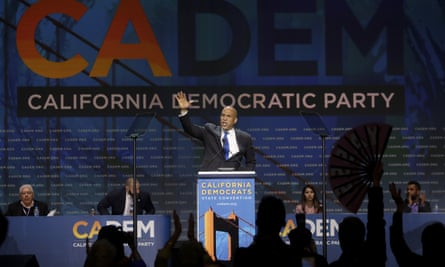 Democratic presidential candidate Senator Cory Booker devoted his speech at the Democratic state convention in San Francisco on reducing gun violence.