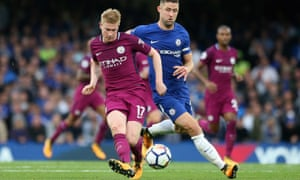 Kevin De Bruyne plays a pass under pressure from Chelsea's Gary Cahill.